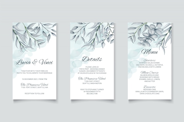 Wedding invitation card template with beautiful floral background set bundle pack collection