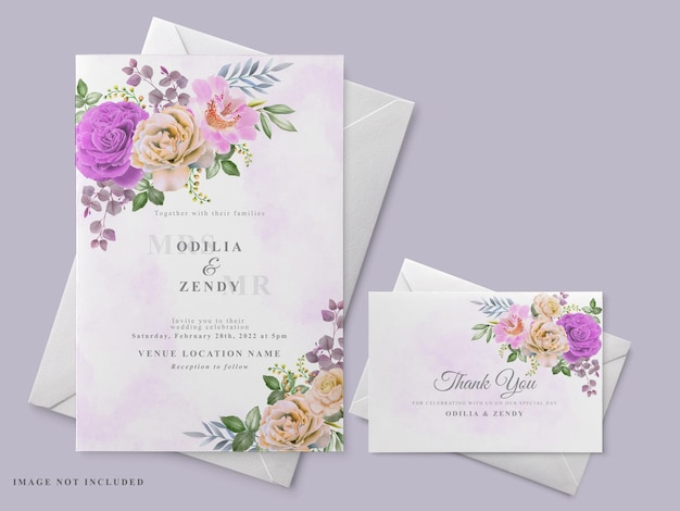 Wedding invitation card template with beautiful floral hand drawn