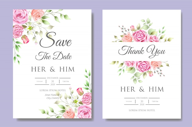 Wedding invitation card template with beautiful floral leaves