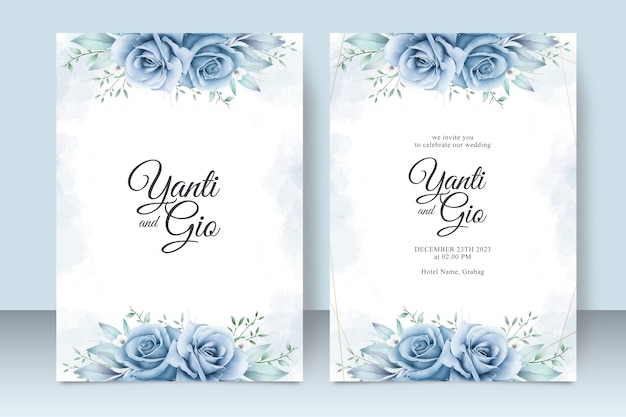 Wedding invitation card template with beautiful floral watercolor