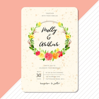 Wedding invitation card template with beautiful flower watercolor wreath