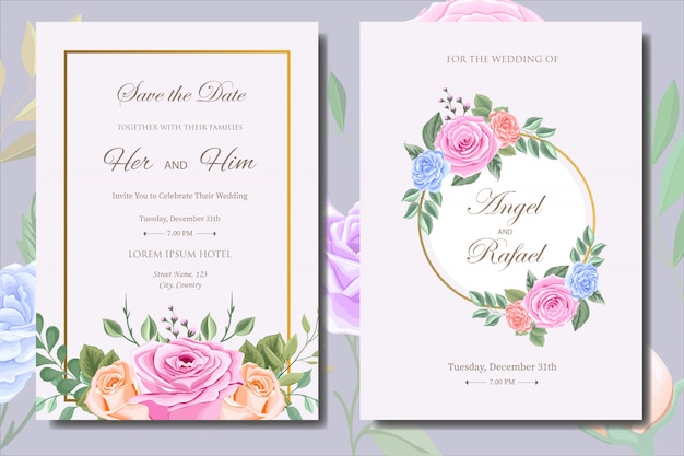 Wedding invitation card template with beautiful flowers and leaves