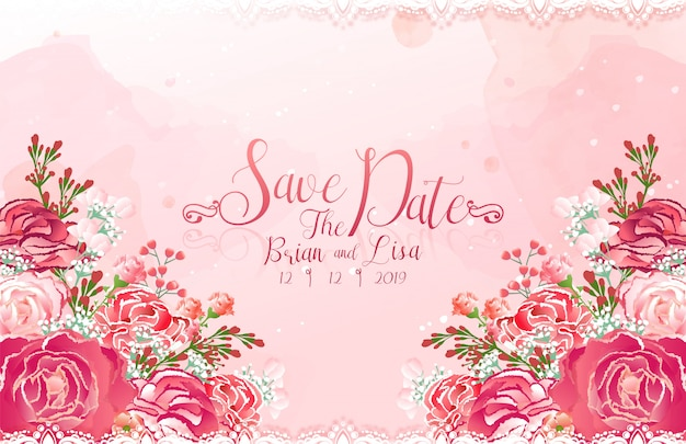 Wedding invitation card template with beautiful flowers style.