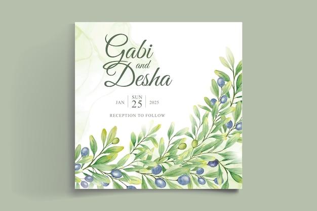 美しい緑のユーカリの葉と結婚式の招待カードのテンプレート