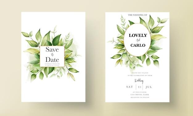 Modello di carta di invito a nozze con bellissime foglie verdi su sfondo di inchiostro alcolico