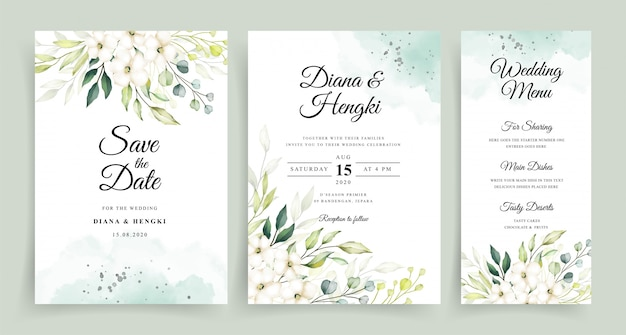 Wedding invitation card template with beautiful greenery watercolor