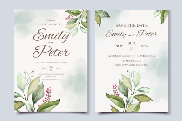 Шаблон свадебного приглашения с красивой иллюстрацией листьев
