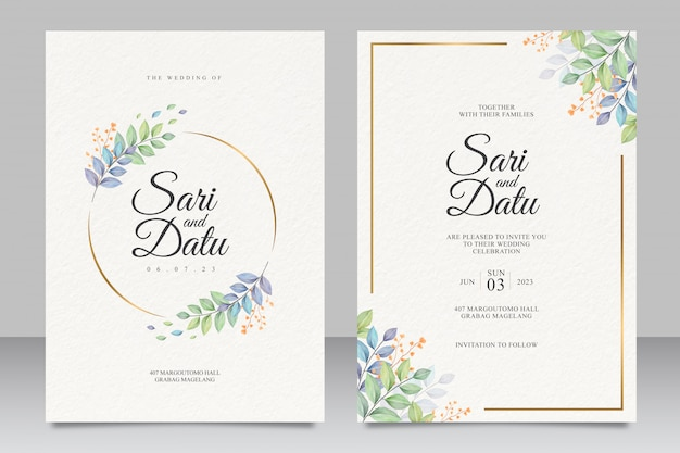 Wedding invitation card template with beautiful leaves
