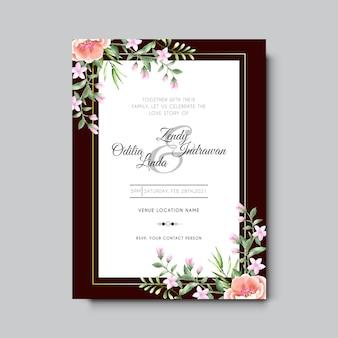 Шаблон свадебного приглашения с красивой розовой персиковой розой акварель