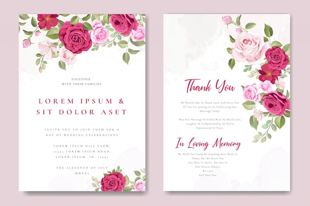 Wedding invitation card template with beautiful pink roses