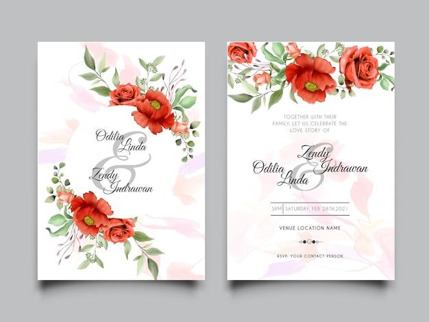 美しい赤いバラのイラストデザインの結婚式の招待カードテンプレート