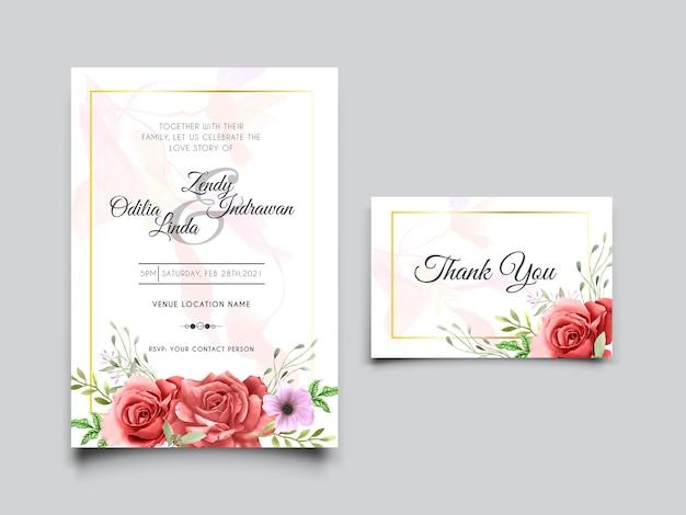 美しい赤いバラのイラストと結婚式の招待カードのテンプレート