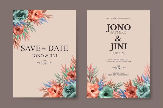 아름 다운 장미 꽃 세트 결혼식 초대 카드 서식 파일