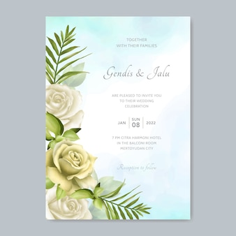 Wedding invitation card template with beautiful rose and leaves