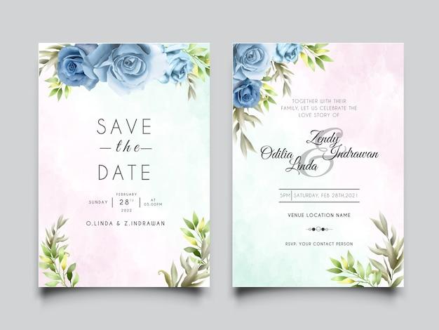 美しいロイヤルブルーのバラのデザインの結婚式の招待カードテンプレート