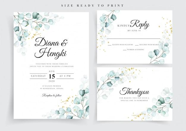 Wedding invitation card template with beautiful soft eucalyptus