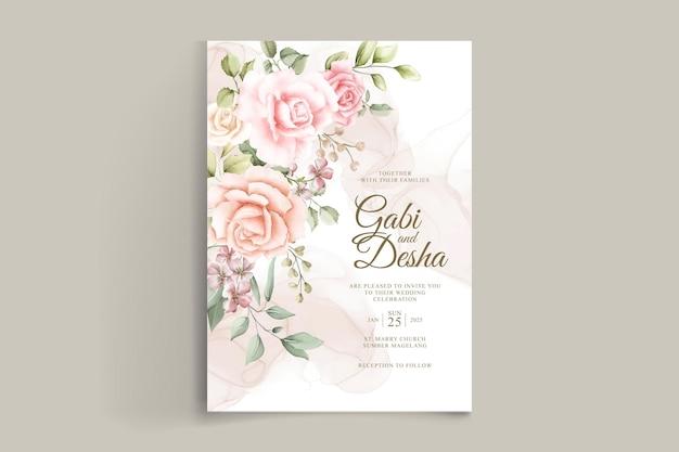 Шаблон свадебного приглашения с красивыми акварельными розами