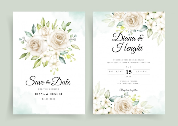 Wedding invitation card template with beautiful white floral watercolor