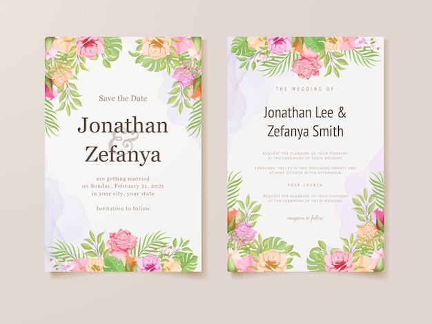 Wedding invitation card template with beautifull floral vector