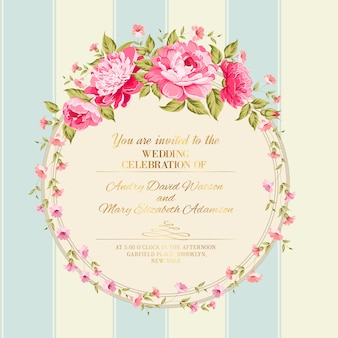Wedding invitation card template with blooming peonies.