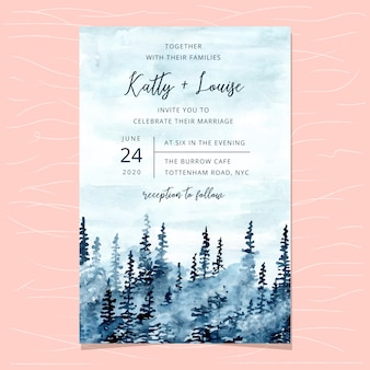 Wedding invitation card template with blue misty forest watercolor