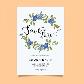 Wedding invitation card template with blue roses