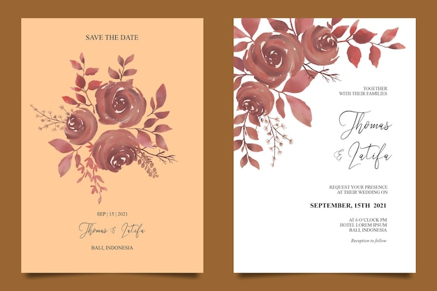 Wedding invitation card template with brown watercolor flower decoration