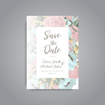 Wedding invitation card template with colorful flower.