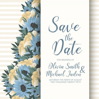 Wedding invitation card template with colorful flowers