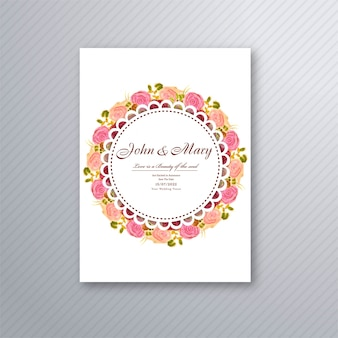 Wedding invitation card template with decorative floral background illustration