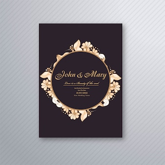 Wedding invitation card template with decorative floral background