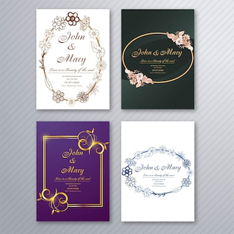 Wedding invitation card template with decorative floral brochure collection set design