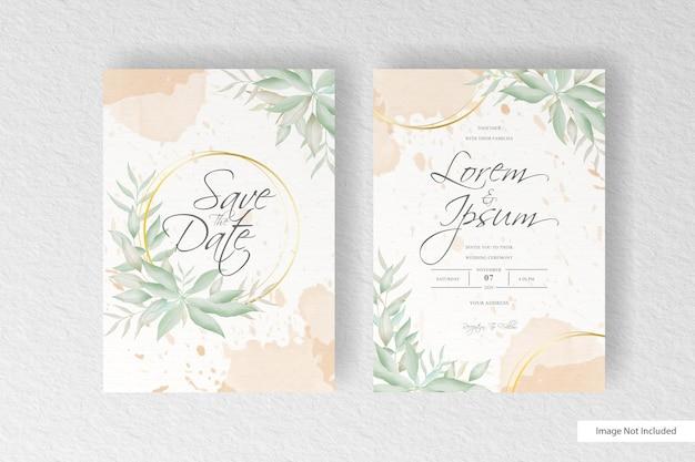 Wedding invitation card template with elegant floral arrangement