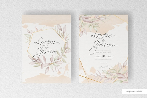 Wedding invitation card template with elegant floral arrangement