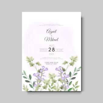 우아한 꽃과 잎 결혼식 초대 카드 템플릿