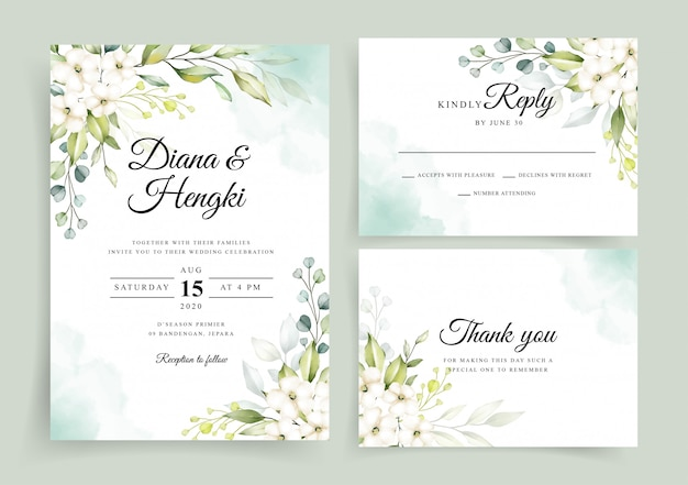 Wedding invitation card template with elegant greenery watercolor