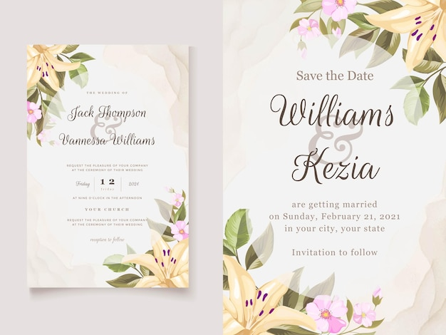 Wedding invitation card template with elegant lily flower bouquet