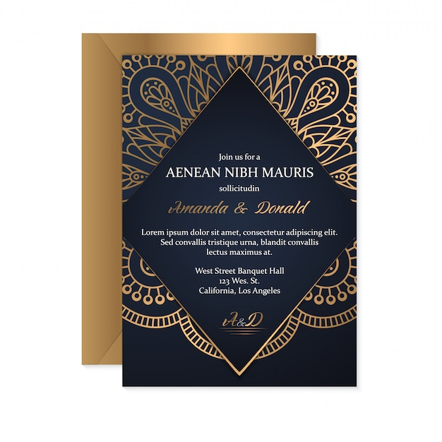 Wedding invitation card template with ethnic style, oriental design