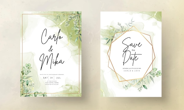 Wedding invitation card template with eucalyptus leaves watercolor