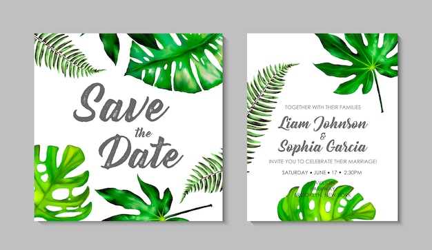 Wedding invitation card template with exotic tropical leaves.