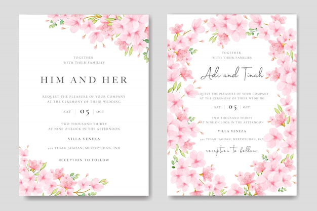 Wedding invitation card template with floral cherry blossom design