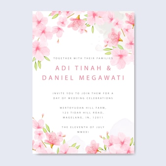 Wedding invitation card template with floral cherry blossom frame