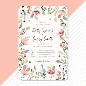 Wedding invitation card template with floral and foliage watercolor frame