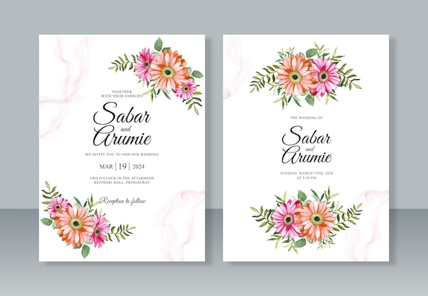 花の絵の水彩画と結婚式の招待カードのテンプレート