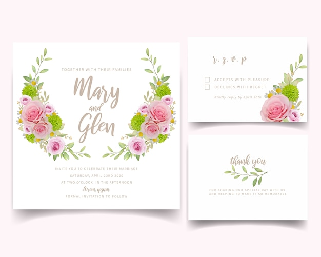 Wedding invitation card template with floral pink roses