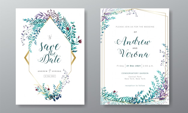 Wedding invitation card template with floral watercolor decoration