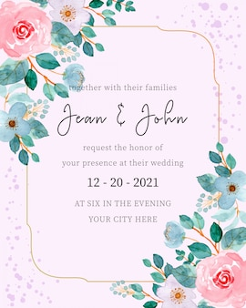 Wedding invitation card template with floral watercolor