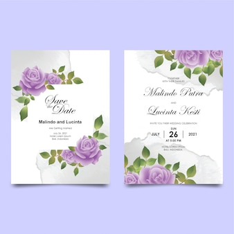 Wedding invitation card template with flower bouquet borders