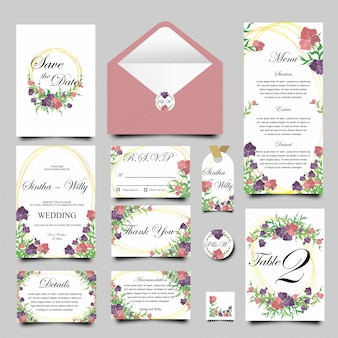 Wedding invitation card template with flower frames