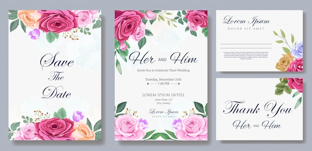 Wedding invitation card template with flower and leaves